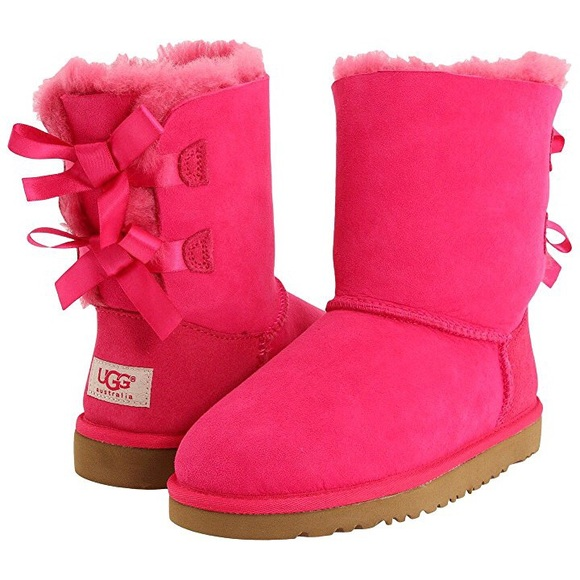 UGGS BAILEY BOW PINK LACE UP GIRLS BOOTS